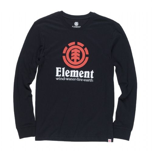 ELEMENT MENS T SHIRT.VERTICAL BLACK COTTON LONG SLEEVED SKATER TOP TEE 8S A4 373
